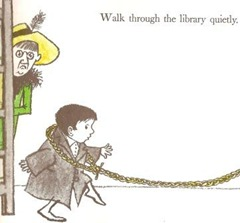 Walk through the library quietly